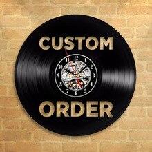 Винтаж на заказ Виниловая пластинка настенные часы заказ ваш дизайн вашего логотипа ваш персональный виниловые часы