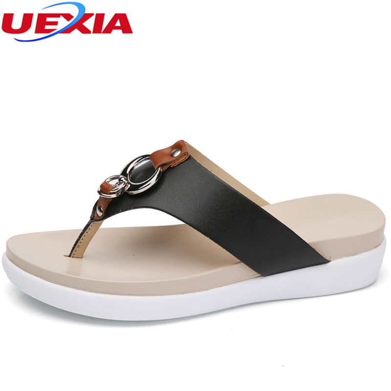 UEXIA 2018 New Women High Heel Platform Sandals Beach Slippers Wedge Flip Flops Fashion Slides Summer Shoes Woman House Slippers