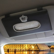 Car Sun Visor Crystal Rhinestones Crown Tissue Box