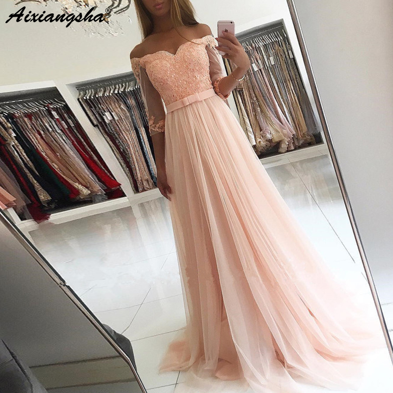 A-line Half Sleeve Tulle Lace Beaded vestidos de graduacion Long Evening Gown 2019 Peach   Prom     Dress