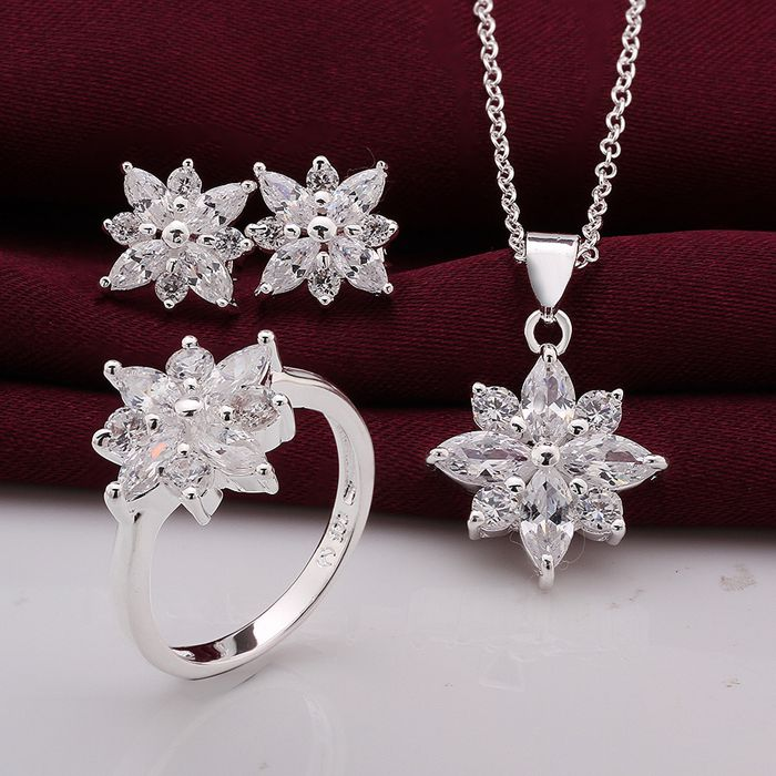 S747 925 Jewelry Silver Plated Jewelry Set Jewelry Set Earring 546 Necklace 581 Ring 4948 /gwkapnra Hicapzja