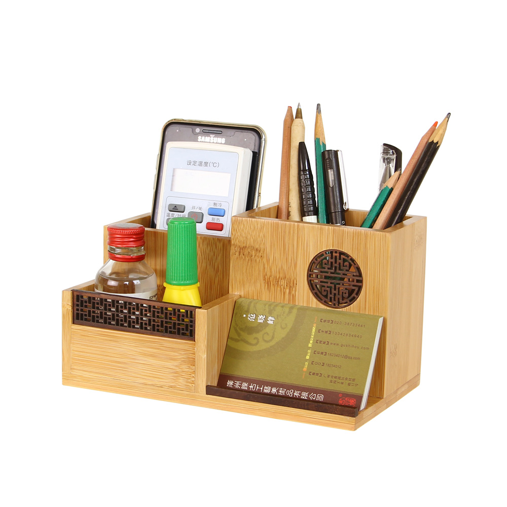 Bamboo Storage Box For Control Receiver Organizer Office Pen Box Pencil Container  Desktop Storage Multi Function Restoring