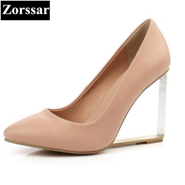 size 33-43 NEW 2017 Genuine leather Womens shoes wedges Pointed Toe high heels women Office & Career shoes woman Single shoes 2017 new spring autumn big size 11 12 dress sweet wedges women shoes pointed toe woman ladies womens