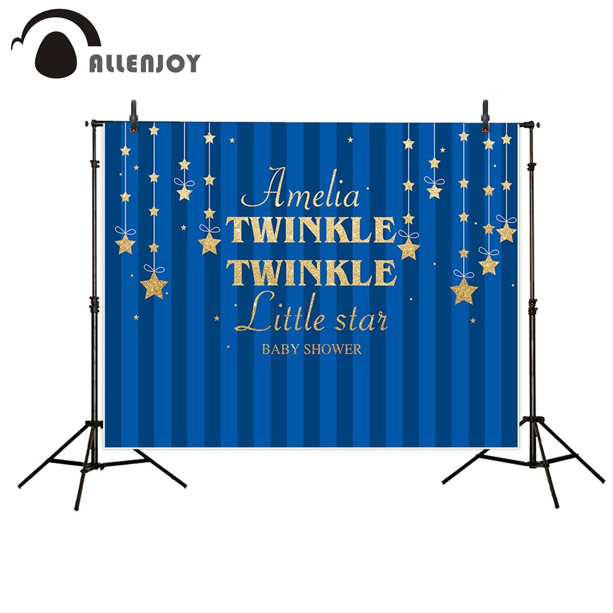 Виниловые фотообои Allenjoy с синими полосками и золотыми звездочками, оригинальный дизайн для новорожденных