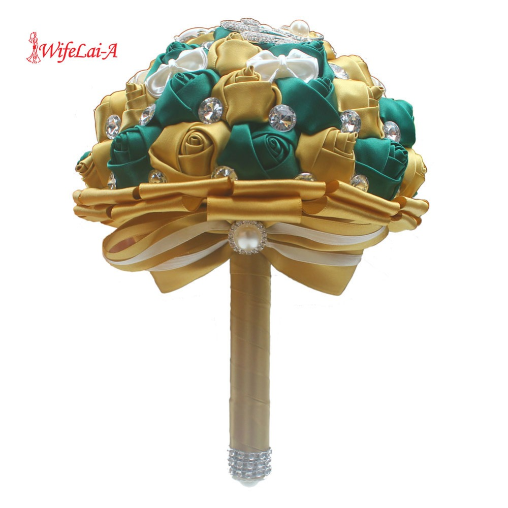 WifeLai-A Golden With Emerald Green Artificial Rose Bride Bouquet With Diamond Ribbon Wedding Bouquet Decoration Flowers W2913