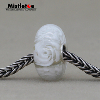 Mistletoe Jewelry 925 Sterling Silver Large Hole White Rose Flower Murano Glass Charm Bead Fit European