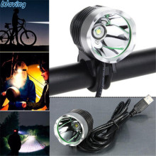 1PC Flashlight 3000 Lumen XML T6 USB Interface LED 2017 New Duable Bike Bicycle Front HeadLight