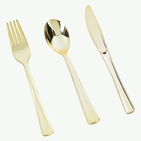 60 pçs/lote lWedding Ouro De Plástico Descartável Talheres Conjunto de 20 Facas 20 Garfos 20 Colheres Talheres Conjuntos de Talheres de Ouro Como