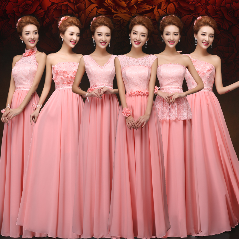 Sweet Memory Elegant Long Halter Bridesmaid Dress Blue Pink Chiffon