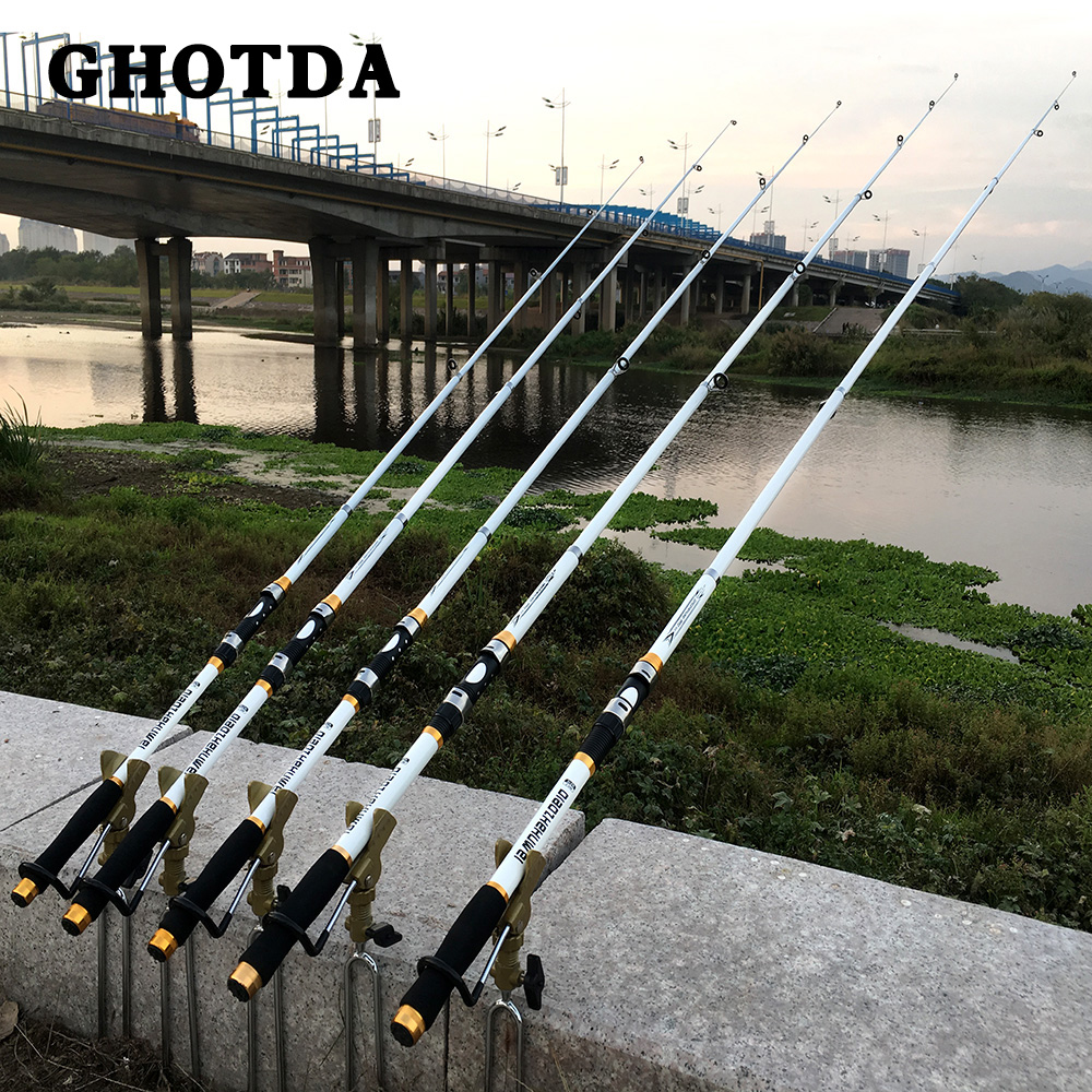 Carp Fishing, Rod feeder Hard FRP Carbon Fiber Telescopic Fishing Rod fishing pole 2.1M -3.6M 2