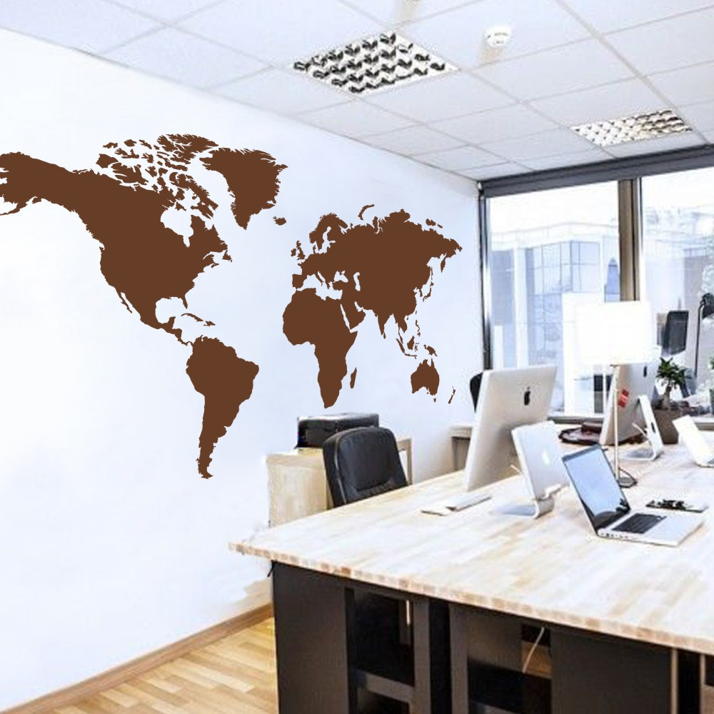 World Map Wall Decal The Whole World Atlas Vinyl Wall Art Sticker Home Office Decor 100H X 50W