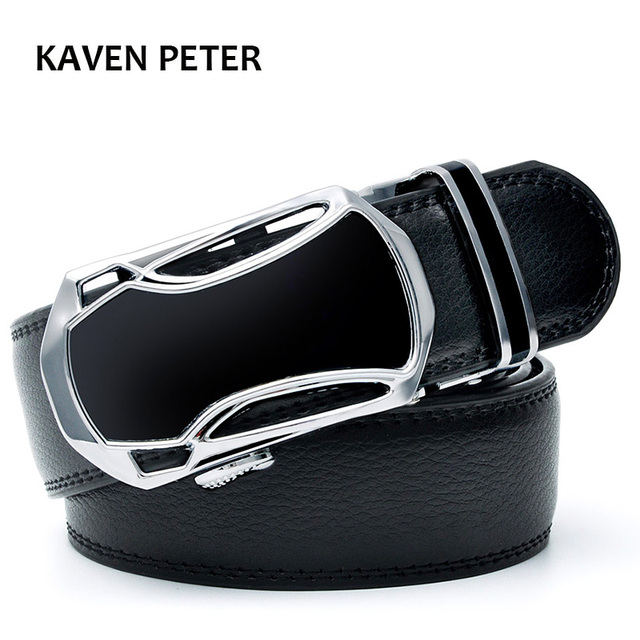 13e59a23e45 Men s Genuine Leather Ratchet Belt 35mm with Car Automatic Buckle Luxury Brand  Fashion Brand Designer Belts Men High Quality