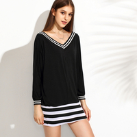 Patchwork Black White Striped Sweater Dress V Neck Long Knitwear Sexy Loose Knitting Dress Kazak Bayan