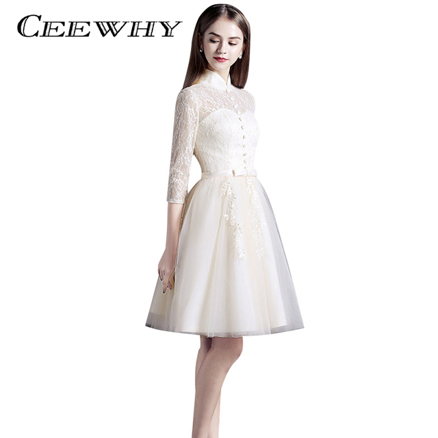 CEEWHY Drei Viertel Sleeve Knielangen Tüll Kleid Vintage Formale ...