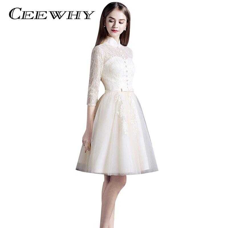 Vintage Three Quarter Length Wedding Dresses: CEEWHY Three Quarter Sleeve Knee Length Tulle Lace Dress