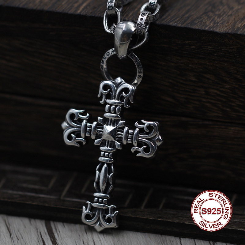 S925 Sterling Silver Men s Pendant Flame Cross Pendant font b Jewelry b font Tag Personality
