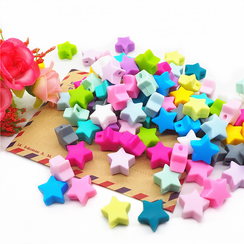 Chenkai 50pcs 15mm Silicone Star Teether Beads DIY Baby Shower Pacifier Dummy Nursing Jewelry Toy Making Beads BPA Free