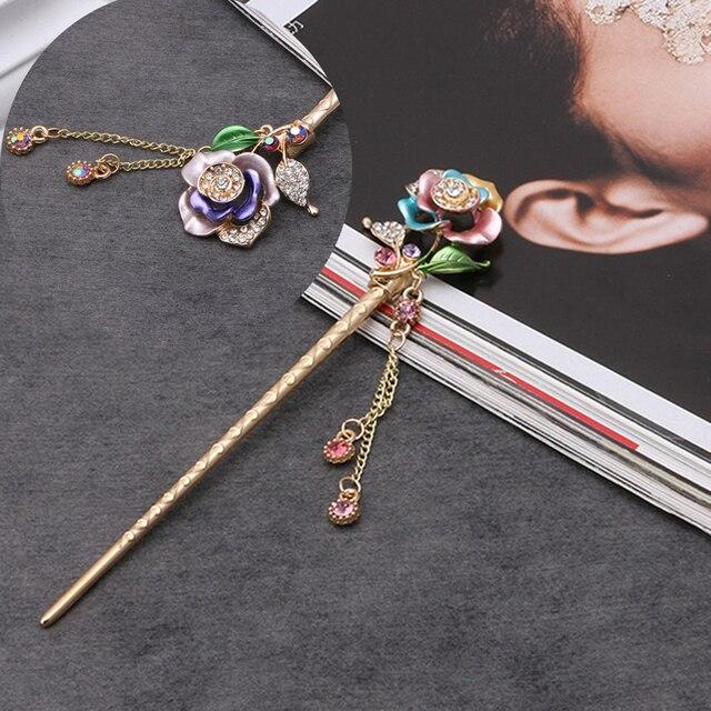 Для женщин волос Щупы для мангала ручной работы металлическими стразами волос Палочки китайские шпилька