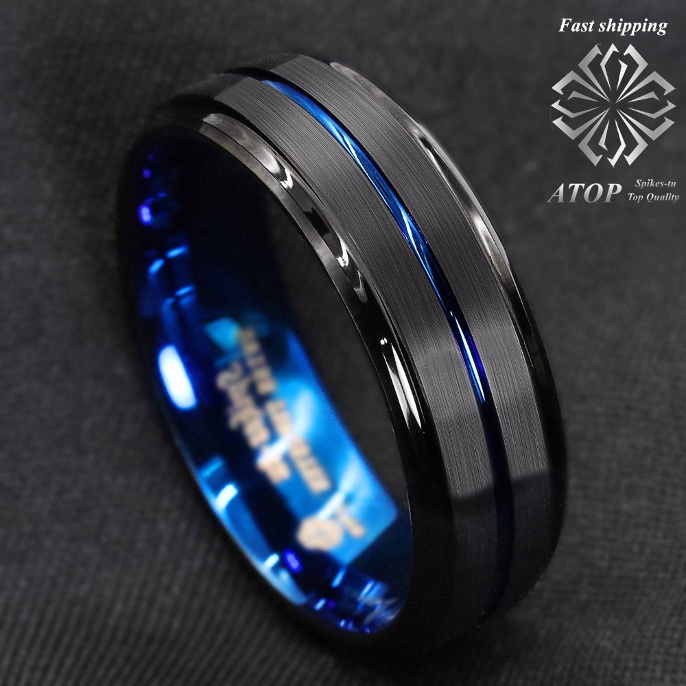 0d7cd5c9f45 8MM Black Brushed Ladder Edge Tungsten Ring BLue Stripe ATOP Mens Wedding  Band-in Wedding Bands from Jewelry   Accessories on Aliexpress.com
