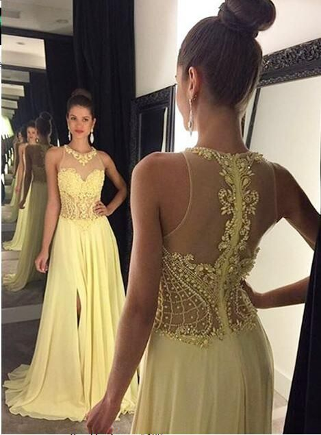 New 2017 Sexy Illusion Yellow Chiffon Evening Dresses Long A-line Trains Beaded Appliques Split Prom Gowns Robe De Soiree