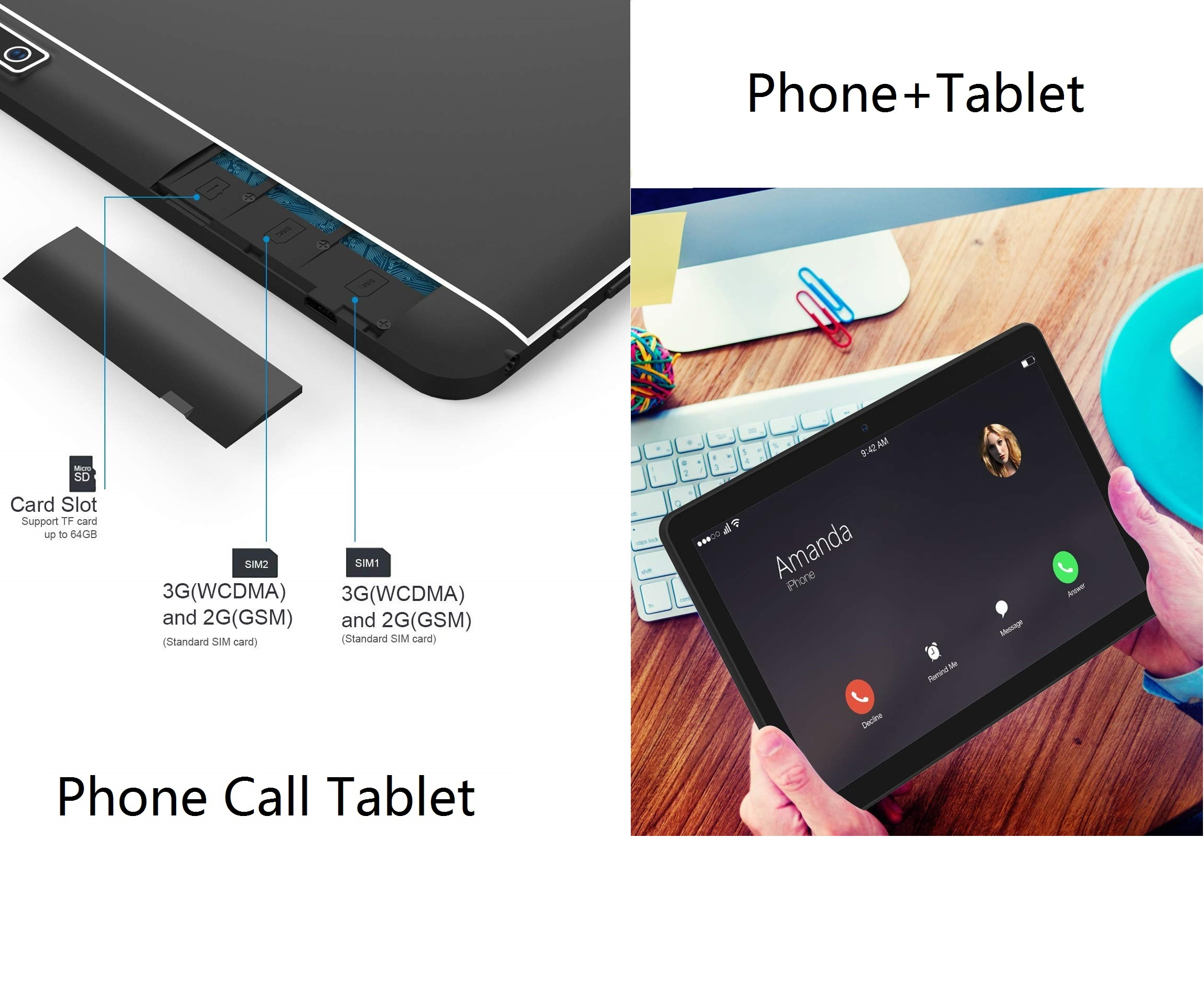 10.1 pouces tablette Pc Android tablette 1280*800 IPS 4 GB + 64 GB double SIM 3G tablette Quad Core Android 8.0 Bluetooth WiFi tablettes 10 - 2