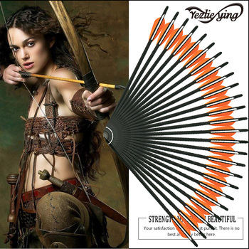 24PCS 16/17/18/20/22 Inch Carbon Arrow Orange White Feather and Replacement Arrow Outdoor Crossbow Hunting Recurve Bow Archery