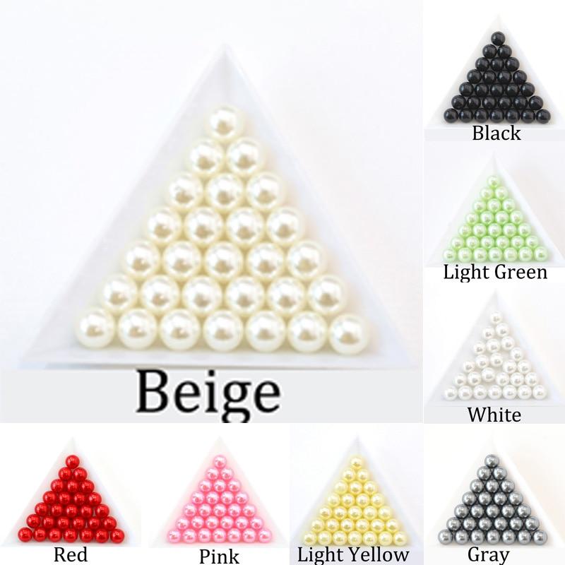 Perle d'imitation ABS, blanche et noire sans trou, perle ample, pour bricolage, vêtements chaussures, accessoires de fabrication de bijoux