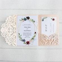 Пригласительная открытка Свадебная лазерная резка с конвертом Элегантный пыльно-розовый трехслойный предложение на заказ Печать много цветов 50 шт