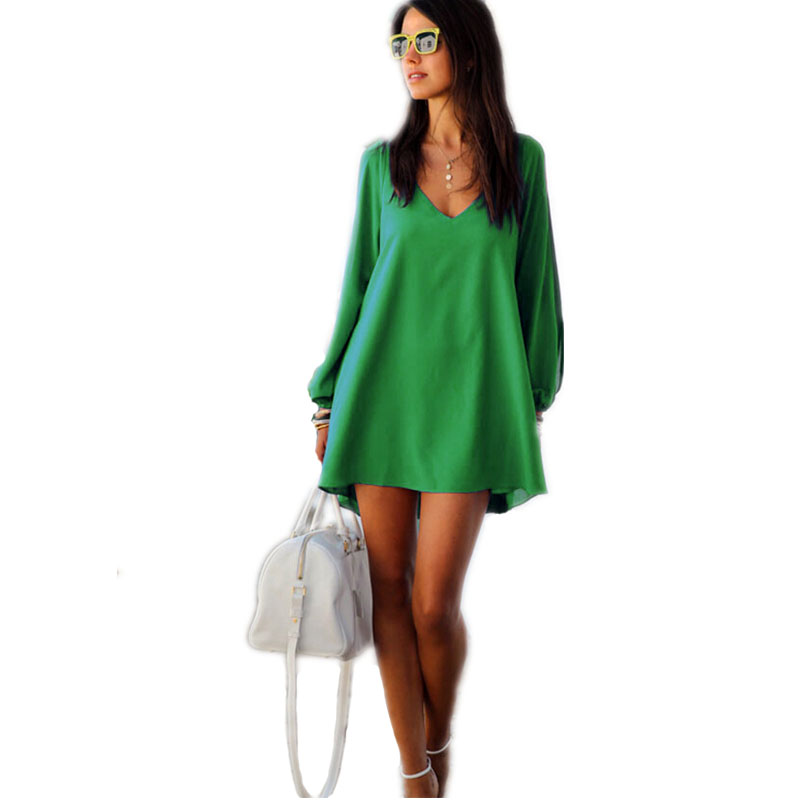 Summer Dress 2018 casual Plus Size Women Clothing Long sleeve solid color Chiffon V Dress Vestidos Beach Dress Loose neck dress 5