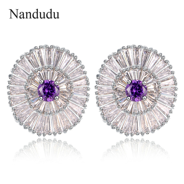 Nandudu Fashion Cubic Zirconia Stud Earrings New Arrival Women Girl Earring Jewelry Gift CE170 CE171 CE172 CE173