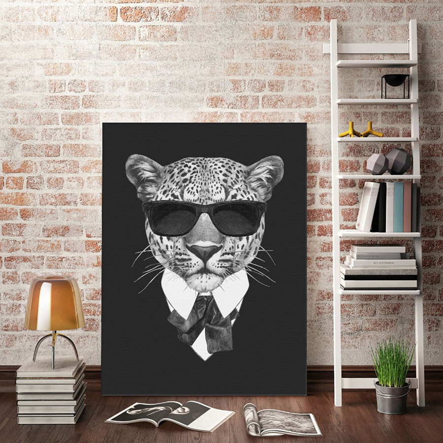 Leopard Bedroom Ideas For Painting: Black Simple Mafia Leopard Art Painting Poster On Canvas