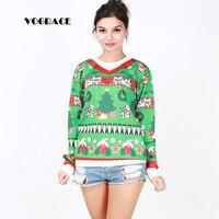 VOGRACE New Female 3d Sportswear Christmas Tree House Cat Funny Gifts V Neck Sweatshirt Autumn Winter