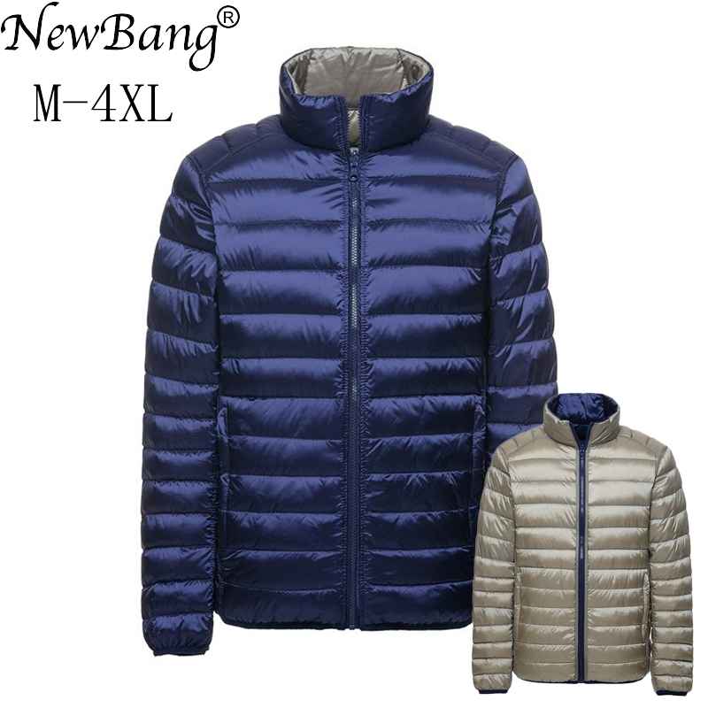 NewBang Brand   Down     Coat   Male Duck   Down   Jacket Men Autumn Winter Double Side Feather Reversible Windproof Lightweigt Warm Parka