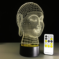 New Year Gift Remote Touch Buddha 3D LED Lamp Power Bank Usb Led Lamp Mini Led