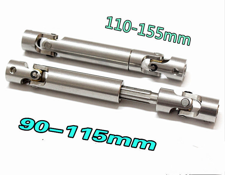 1pcs SCX10 Steel Universal Drive Shaft With CVD 90-110mm2pcs 110-155mm D90 For 1/10 Scale Models RC Car AXIAL Crawler TF2 trx4 2pcs universal steel drive shaft cvd wide angle 44mm for 3racing sakura rc 1 10 drifting car d3 xis zero s cs ul tb03 tb03d