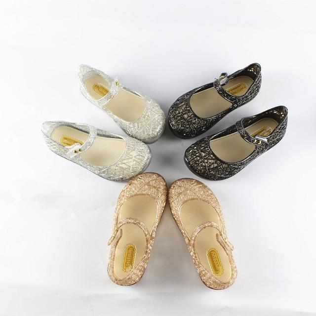 15-18 см кристалл mini melissa обувь 2017 новых детских сетки отверстие обувь девушки сандалии желе обувь сандалии обувь для девочек