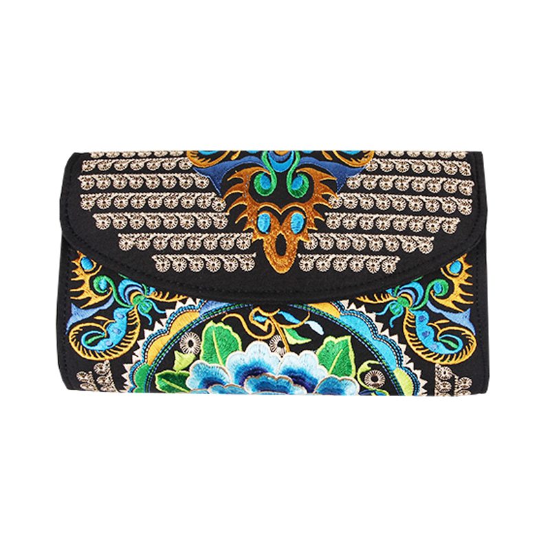 2018 Fashion canvas Envelope package ethnic style hand bags women phone package purses big wallet