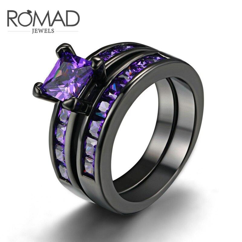 Size 6 9 Classical Jewelry Princess Cut Purple Wedding