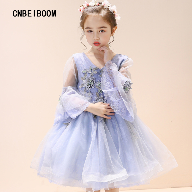 Kids Girls Flower Dress Purple Baby Butterfly Birthday Party Dresses Girl Children Fancy Princess Ball Gown Wedding Clothes