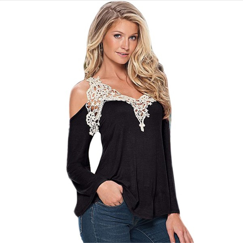 0a90f6631af81 Sexy Off Shoulder Blouse Women Lace Crochet Blouses And Shirts Casual Top  Cold Shoulder Tops Flare Sleeve Female Shirt Plus Size-in Blouses   Shirts  from ...