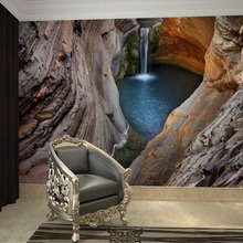 Customized 3D Stereoscopic Cave Waterfall Non-woven Mural Wall