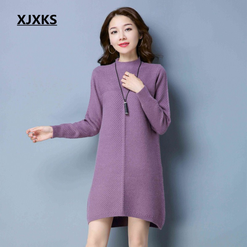 XJXKS autumn and winter high-end warm women pullover long sweaters new fashion 2018 casual half turtleneck sweater dress