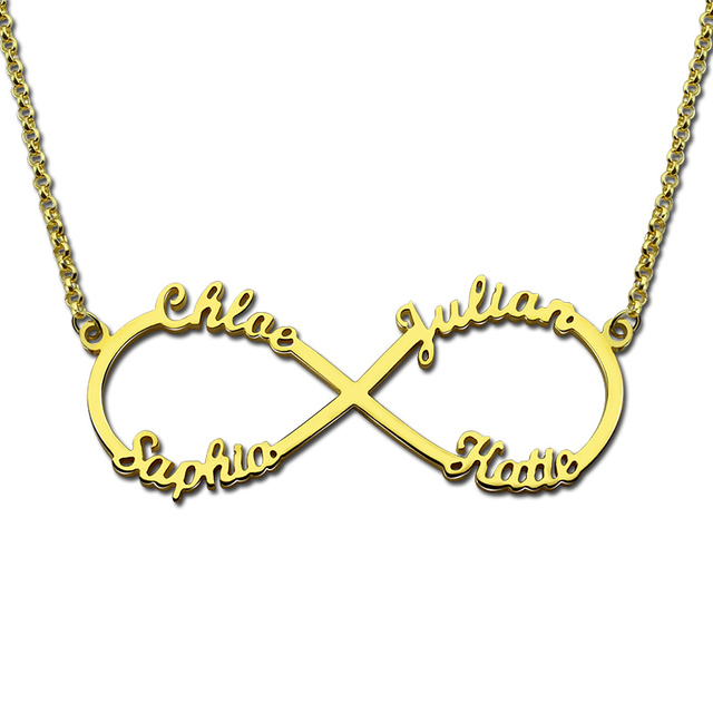 4 Name Necklace Personalized Infinity Necklace Gold Color Infinity