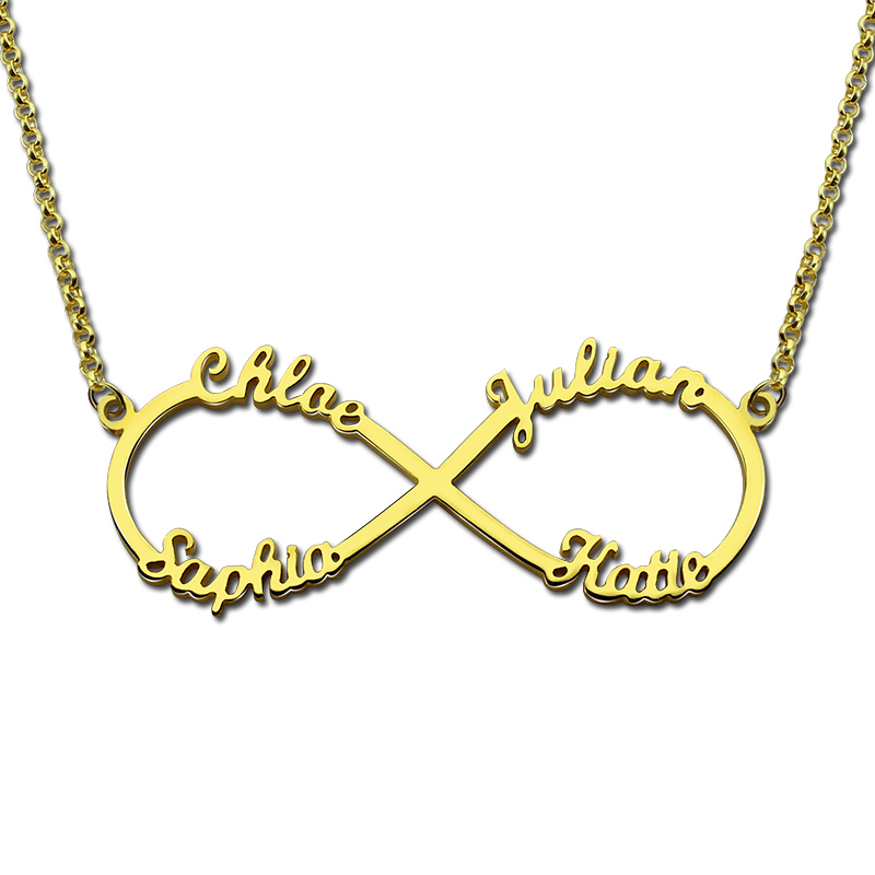 цена на AILIN 4 Name Necklace Personalized Infinity Necklace Gold Color Infinity Name Necklace Love Has No End Love Jewelry