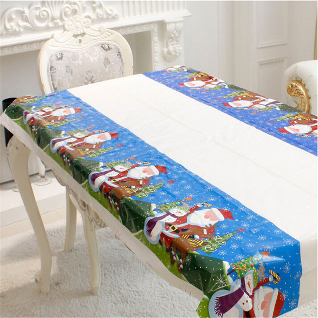Christmas Disposable Tablecloth Festive Rectangle Oblong Table Cloth Xmas Tableware Dining Kitchen Table Cover 180* & Christmas Disposable Tablecloth Festive Rectangle Oblong Table ...