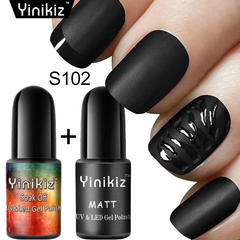 Yinikiz 2pcs Matte Black Color UV Gel Nails Matte Top Coat Finsh ...
