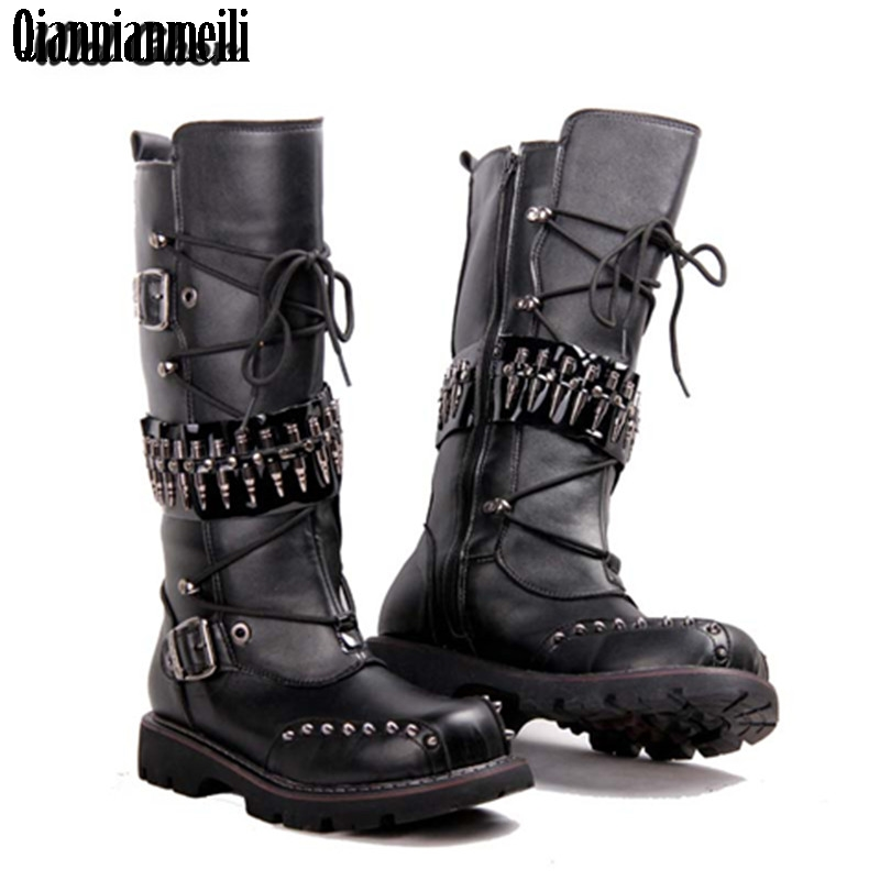 2017 punk Over Knee High Boots Mens Military Boots Natural Cow Leather Men Long Waterproof Snowboots Equestrian Motocycle Boots