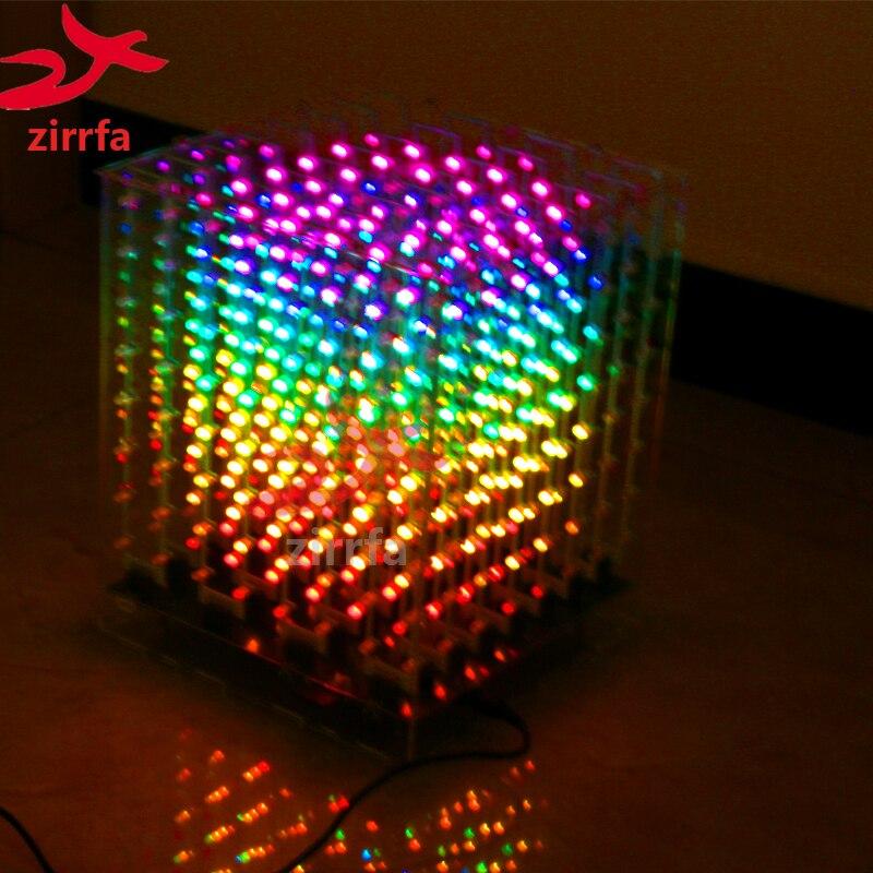 Kit de bricolage électronique 2018 nouveau 3D 8 8x8x8 RGB/coloré led cubeeds kit avec d'excellentes animations cadeau de noël pour carte SD