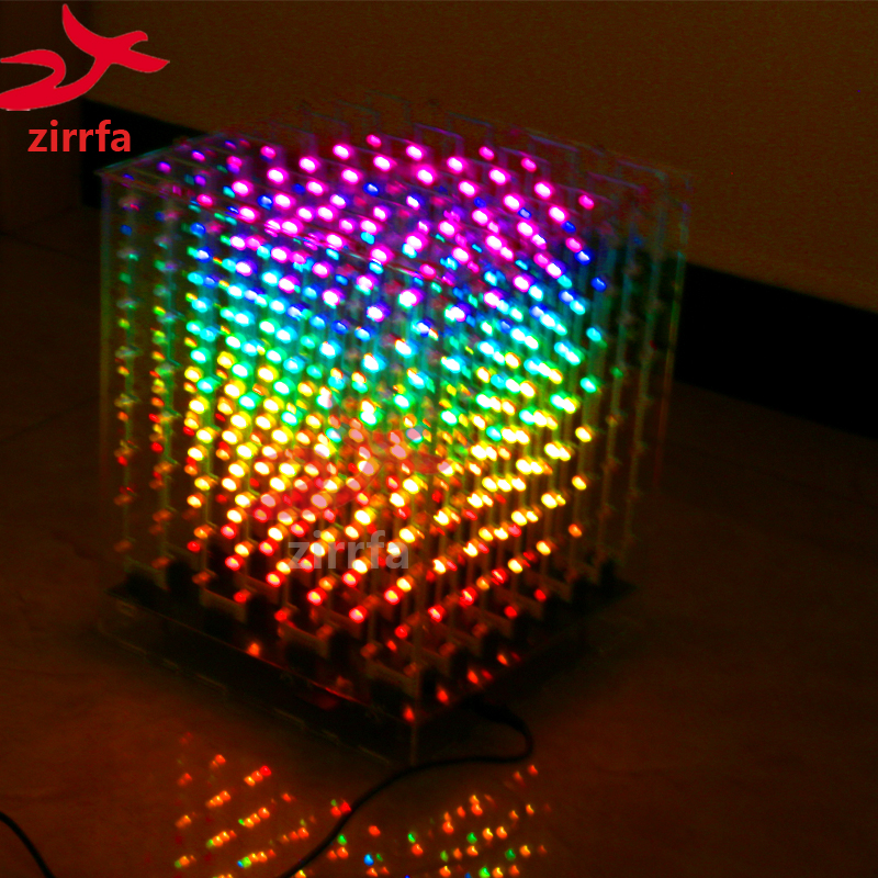 electronic diy kit 2018 NEW 3D 8 8x8x8 RGB/Colorful led cubeeds kit with Excellent animations Christmas Gift for SD card