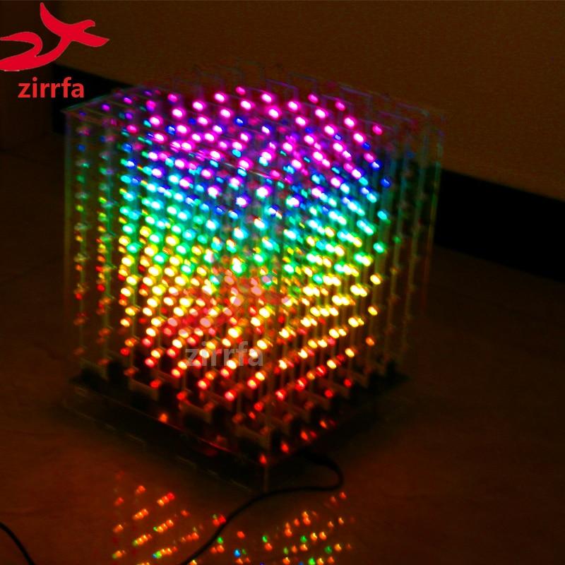 Электронный набор сделай сам 2018 Новый 3D 8 8x8x8 RGB/Красочный светодиодный комплект cubeeds с отличной анимацией Рождественский подарок для sd карты